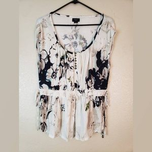 Anthropologie DELETTA Floral Ruched Boho Blouse